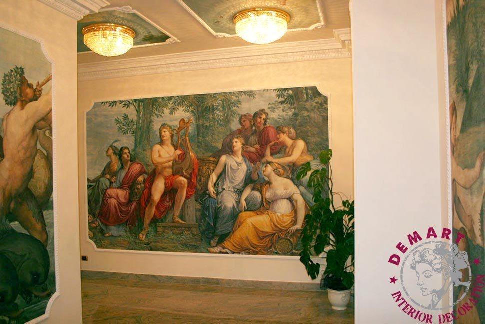 soffitto-decorazione-parete-corridoio-affresco-digitale-hotel