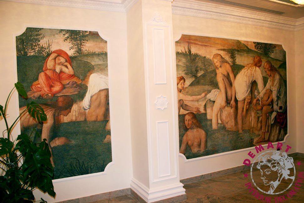 decorazione-parete-corridoio-affresco-digitale-hotel